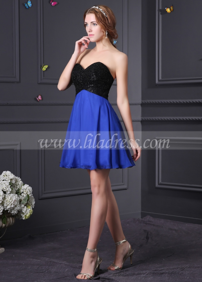Two Tone Chiffon Sweetheart Neckline A-Line Cocktail Dresses