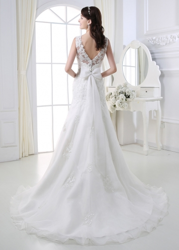 Stunning Organza A-line Bateau Neckline Wedding Dress With Beaded Lace Appliques