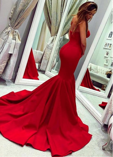 Splendid Satin Sweetheart Neckline Floor-length Mermaid Evening Dress