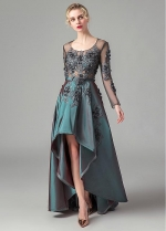 Excellent Tulle & Taffeta Scoop Neckline A-line Evening Dresses With Lace Appliques & Handmade Flowers