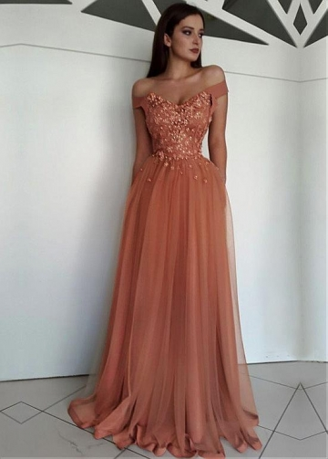 Glamorous Tulle Off-the-shoulder Neckline Floor-length A-line Evening Dresses With Beaded Lace Appliques