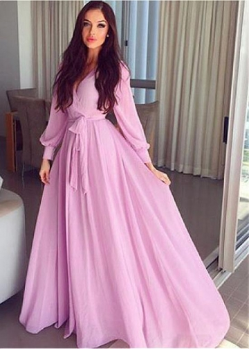 Chic Chiffon V-neck Neckline Floor-length A-line Prom Dresses With Belt