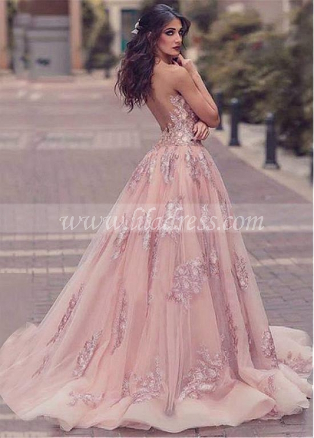 Modern Tulle Jewel Neckline Floor-length A-line Evening Dresses With Beaded Lace Appliques