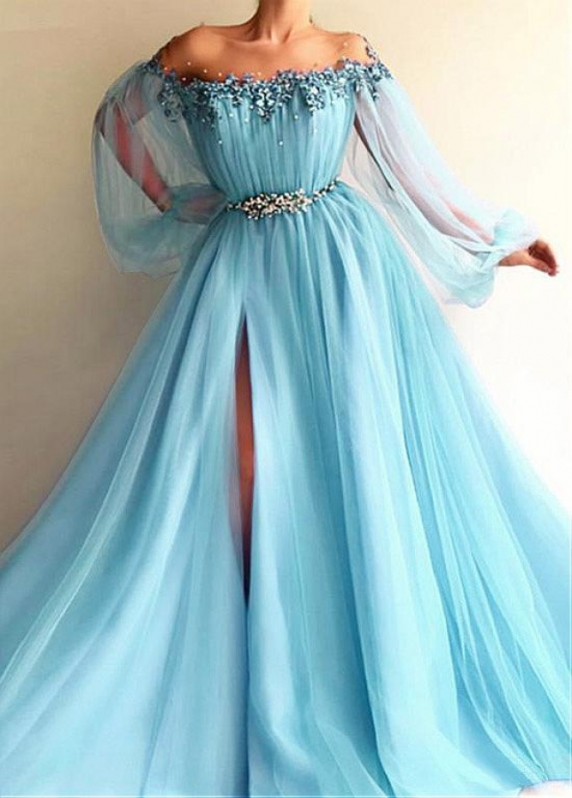 Modern Tulle Jewel Neckline Floor-length A-line Prom Dresses With Slit