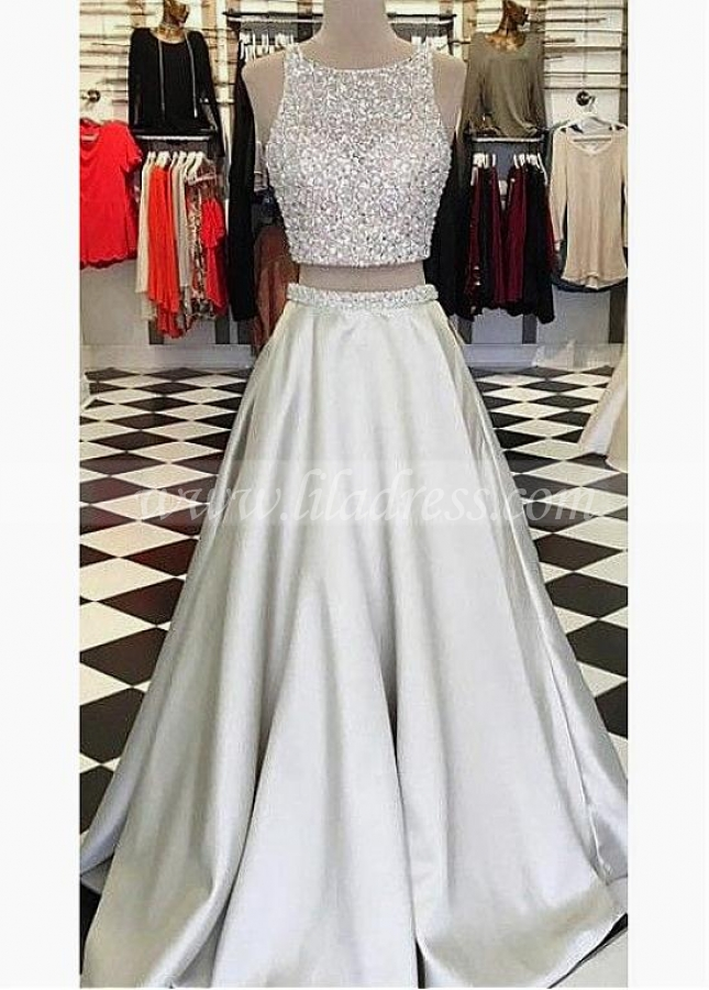 Shining Satin Jewel Neckline Two-piece A-line Evening Dresses With Beadings