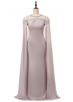 Modest Chiffon Jewel Neckline Sheath/Column Evening Dress With Beaded Lace Appliques