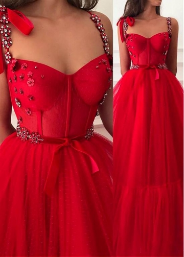 Alluring Polka Dot Tulle Sweetheart Neckline Floor-length A-line Red Prom Dresses