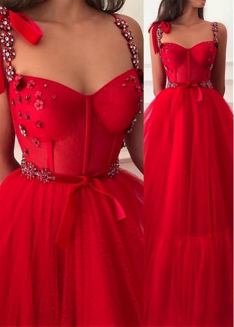 Alluring Polka Dot Tulle Sweetheart Neckline Floor-length A-line Red Prom Dresses