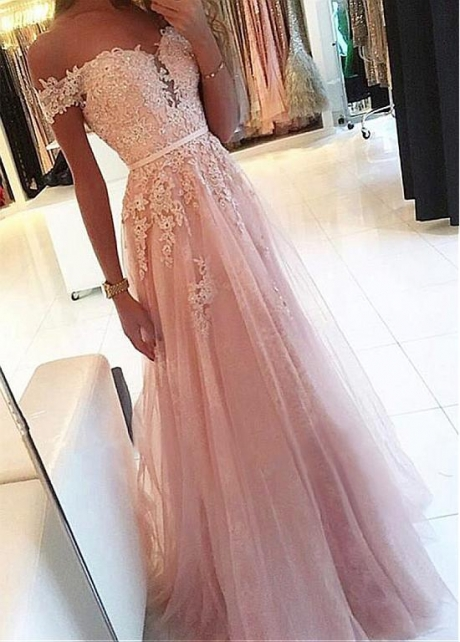 Fantastic Tulle & Lace Off-the-shoulder Neckline Floor-length A-line Prom Dress With Beaded Lace Appliques & Belt