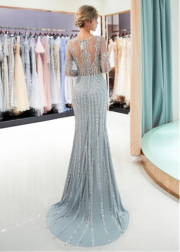Shining Tulle Jewel Neckline Mermaid Formal Dress With Beadings