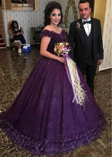 Modest Tulle Off-the-shoulder Neckline Floor-length Ball Gown Evening Dress With Handmade Flowers & Beadings