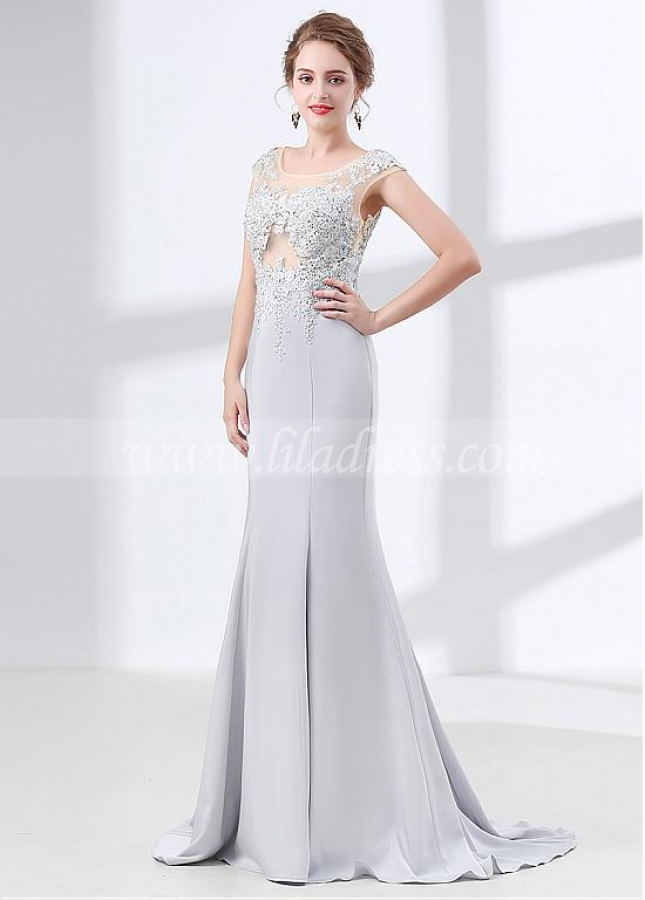 Splendid Scoop Neckline Cap Sleeves Mermaid Evening Dress With Lace Appliques & Rhinestones