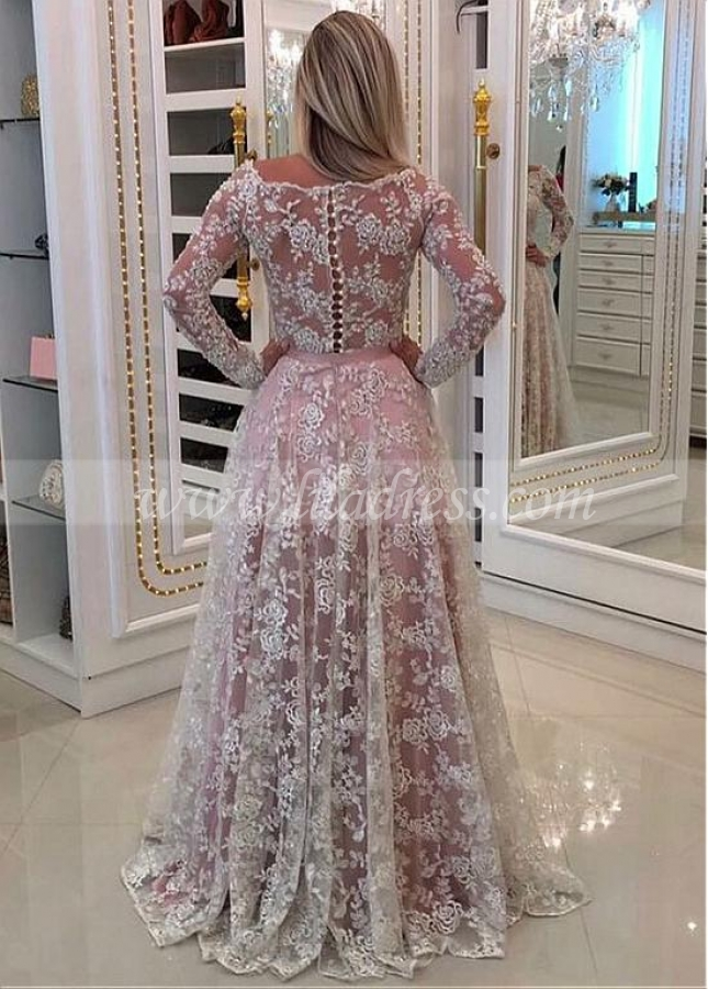 Fascinating Lace Off-the-shoulder Neckline Long Sleeves A-line Prom Dress