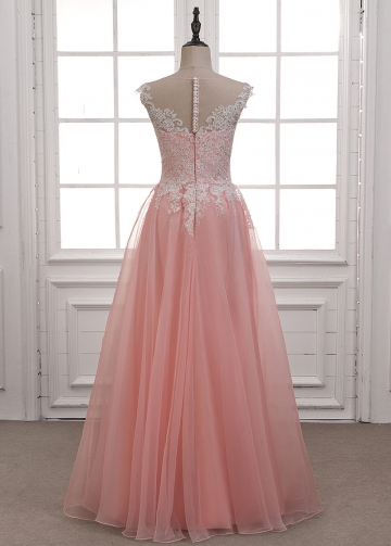 Alluring Tulle & Organza Bateau Neckline A-line Evening Dress With Beaded Lace Appliques