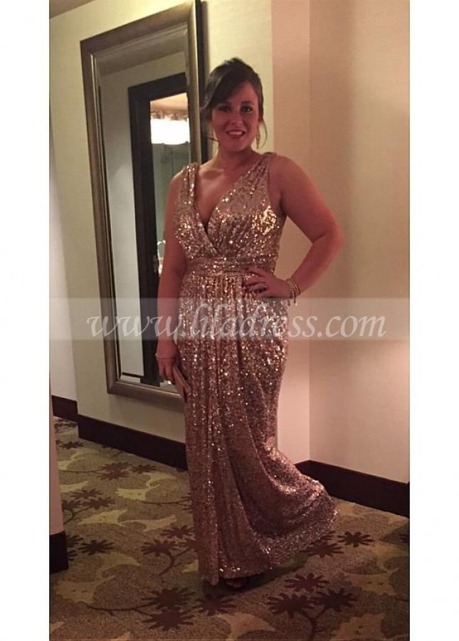 Charming Sequin V-neck Neckline Sheath Evening Dresses