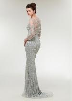Brilliant Tulle Jewel Neckline 3/4 Length Sleeves Sheath/Column Evening Dress With Beadings