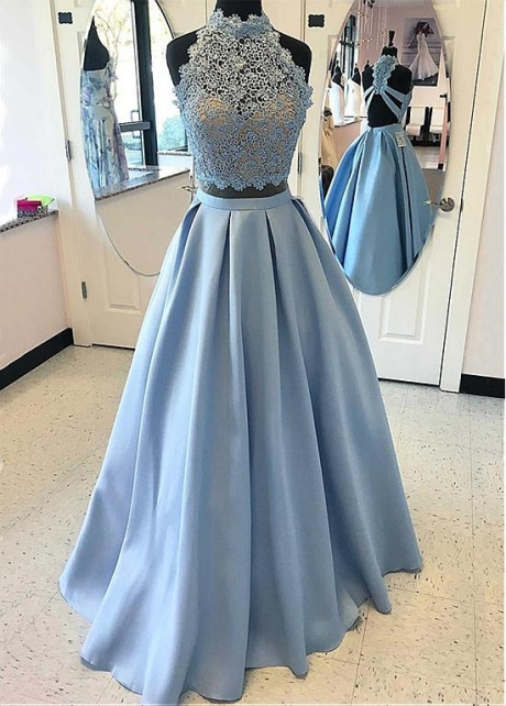 High Quality Lace & Satin Illusion High Collar Neckline A-line Prom Dresses With Beadings