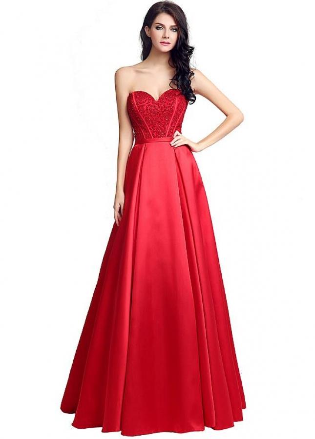 Wonderful Satin Neckline Natural Waistline A-Line Prom Dresses With Beadings