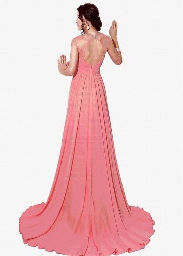 arvelous Chiffon Jewel Neckline A-line Evening Dresses With Rhinestones