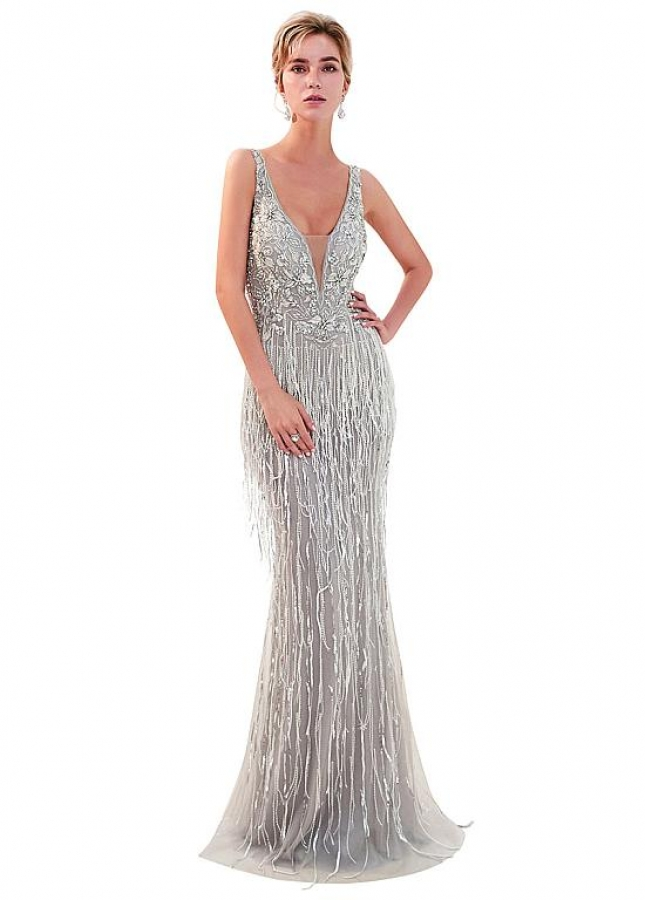 Alluring Tulle V-neck Neckline Full-length Mermaid Evening Dress With Beadings