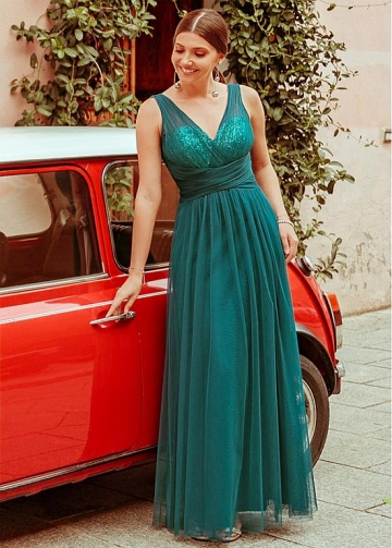 Brilliant Tulle & Sequin Lace V-neck Neckline A-line Evening Dresses
