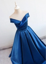 Chic Satin Off-the-shoulder Neckline Floor-length A-line Evening Dresses With Bowknot