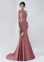 Alluring Lace & Satin One Shoulder Neckline Mermaid Evening Dresses