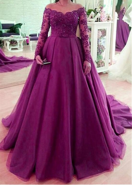 Dazzling Tulle Jewel Neckline Floor-length A-Line Prom Dresses With Beaded Lace Appliques & Bowknot