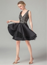 Fabulous Lace & Satin V-neck Neckline Knee-length A-line Homecoming Dresses