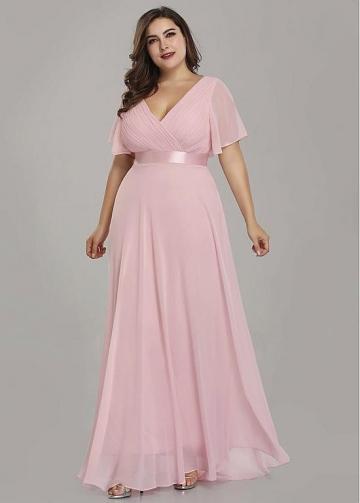 Brisk Chiffon V-neck Neckline A-line Bridesmaid Dresses