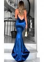 Sexy Stretch Charmeuse Satin Spaghetti Straps Neckline Floor-length Mermaid Evening Dresses