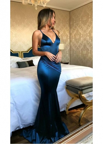 Sexy Stretch Charmeuse Satin Spaghetti Straps Neckline Floor-length Mermaid Evening Dresses
