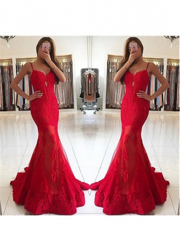 Brilliant Red Spaghetti Straps Neckline Floor-length Mermaid Evening Dresses With Beadings & Lace Appliques