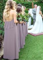 Lightsome Chiffon Halter Neckline A-line Bridesmaid Dresses