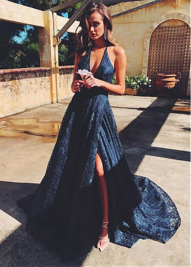 Gorgeous Lace Halter Neckline Floor-length A-line Evening Dresses With Slit
