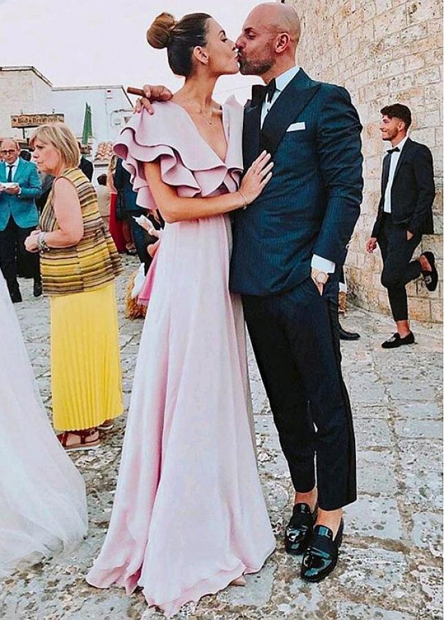 Beautiful Pink V-neck Neckline Floor-length A-line Evening Dress With Belt