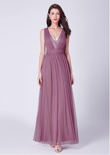 Glamorous Tulle V-neck Neckline Floor-length A-line Evening Dress With Beadings