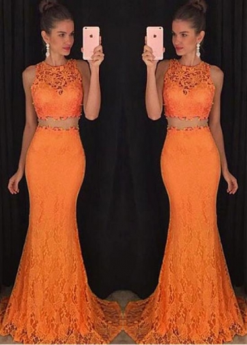 Gorgeous Lace Jewel Neckline Two-piece Mermaid Evening Dress