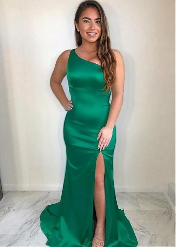 Attractive Acetate Satin One Shoulder Neckline Floor-length Mermaid Evening Dress