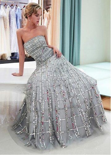 Eye-catching Sequin Lace Strapless Neckline A-line Prom Dress