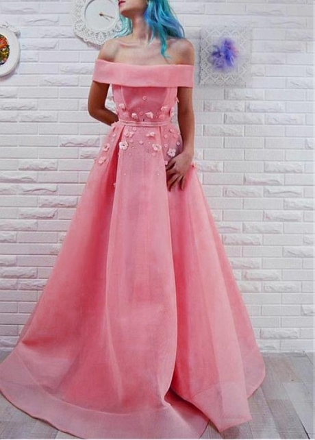 Elegant Organza Off-the-shoulder Neckline A-line Prom Dress With 3D Flowers & Beadings & Sash