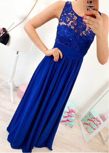 Fantastic Chiffon & Lace Scoop Neckline A-line Evening Dress