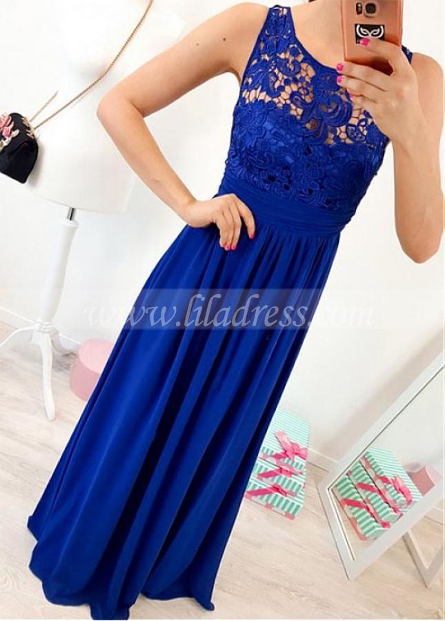 Fantastic Chiffon & Lace Scoop Neckline A-line Evening Dress