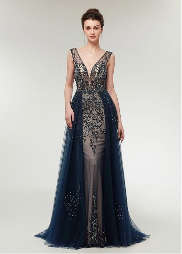 Fantastic Tulle V-neck Neckline A-line Evening Dress With Beadings