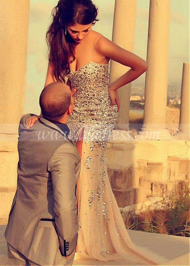 Fantastic Tulle Spaghetti Straps Neckline Sheath / Column Evening Dress With Beadings