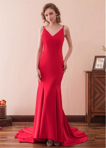 Beautiful Red Spaghetti Straps Neckline Sheath / Column Prom Dress