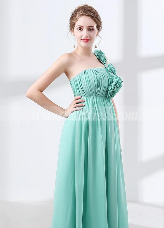 Lightsome Chiffon One-shoulder Neckline Empire Waistline A-line Prom / Bridesmaid Dress