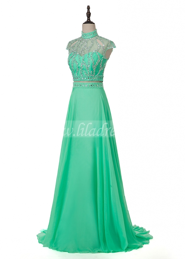 Fascinating Chiffon High Collar Two-piece A-line Prom Dress With Beading