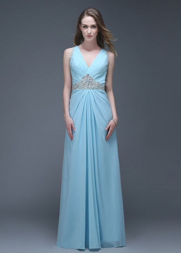 Wonderful Chiffon V-neck Neckline Full-length A-line Prom Dresses