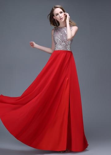 Alluring Chiffon Bateau Neckline Full-length A-line Prom Dresses